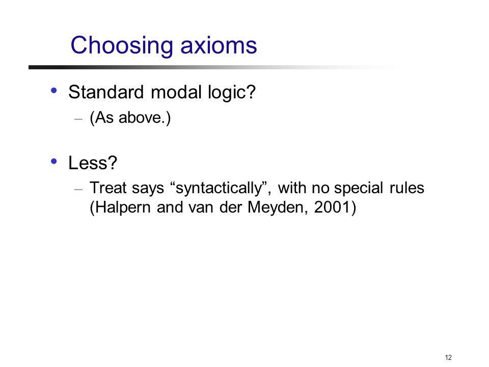 12 Choosing axioms Standard modal logic. – (As above.) Less.