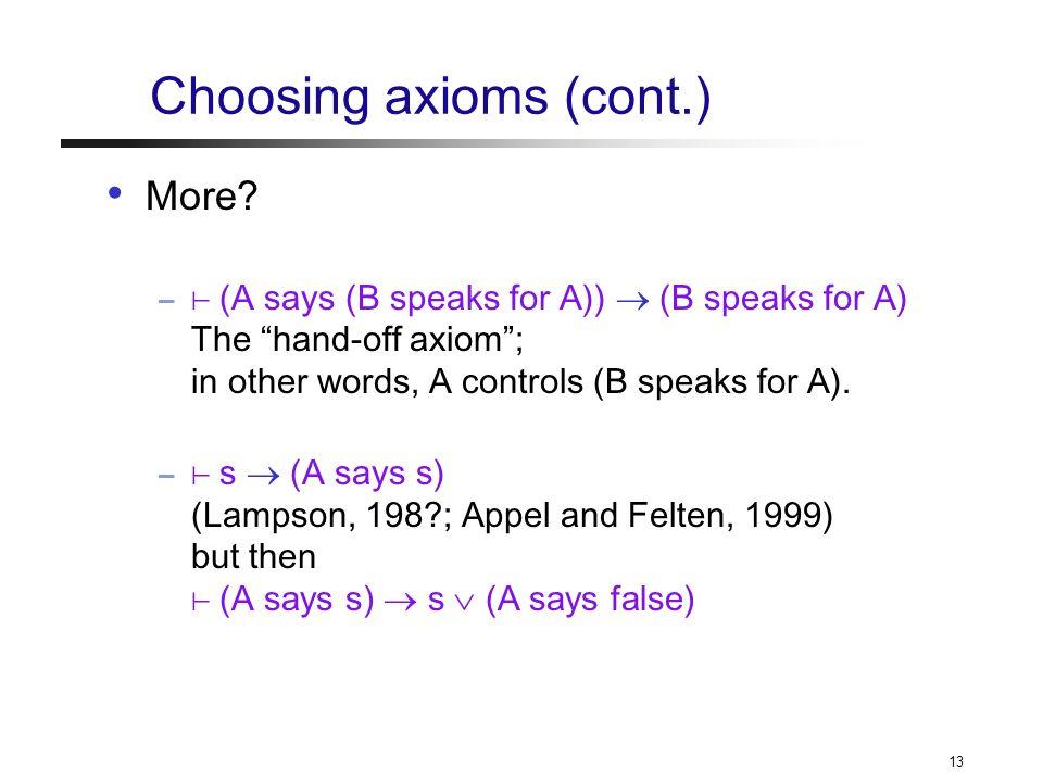 13 Choosing axioms (cont.) More.