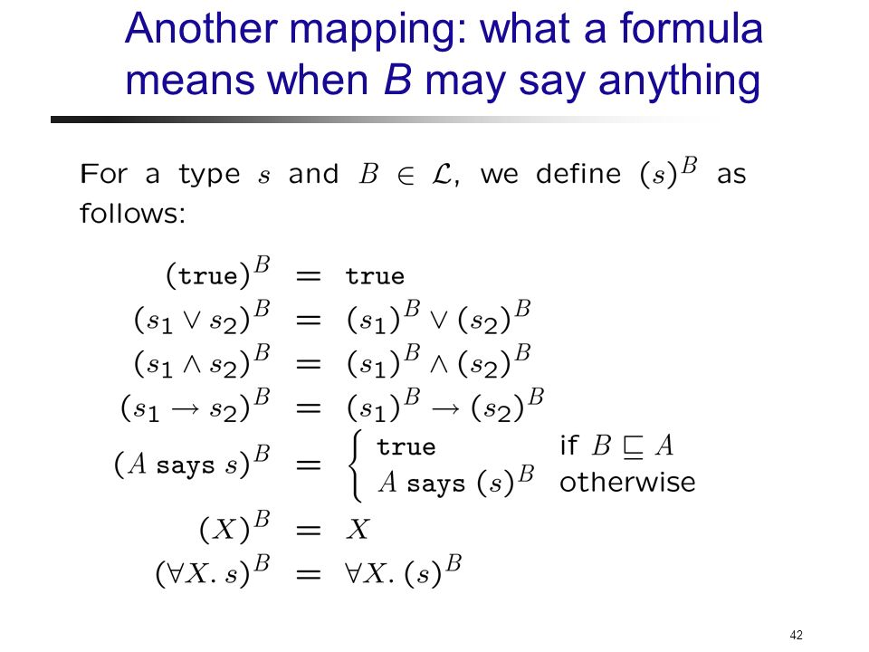 42 Another mapping: what a formula means when B may say anything