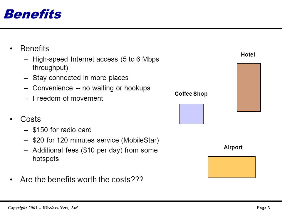 Copyright 2001 – Wireless-Nets, Ltd.Page 3 Benefits –High-speed Internet access (5 to 6 Mbps throughput) –Stay connected in more places –Convenience -- no waiting or hookups –Freedom of movement Costs –$150 for radio card –$20 for 120 minutes service (MobileStar) –Additional fees ($10 per day) from some hotspots Are the benefits worth the costs .