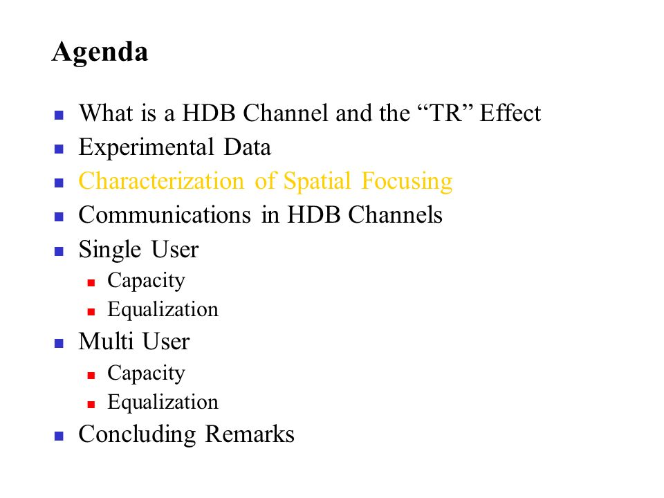 Agenda What is a HDB Channel and the TR Effect Experimental Data Characterization of Spatial Focusing Communications in HDB Channels Single User Capac