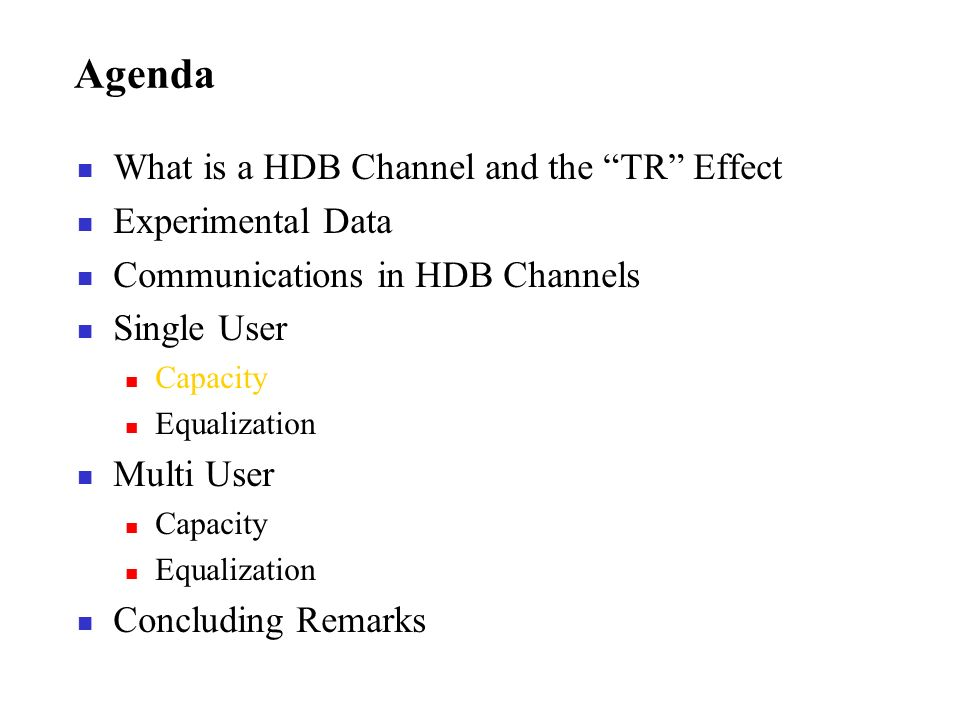 Agenda What is a HDB Channel and the TR Effect Experimental Data Communications in HDB Channels Single User Capacity Equalization Multi User Capacity