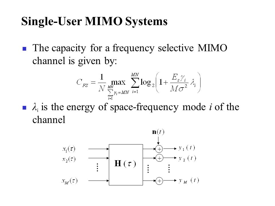 Single-User MIMO Systems The capacity for a frequency selective MIMO channel is given by: λ i is the energy of space-frequency mode i of the channel +