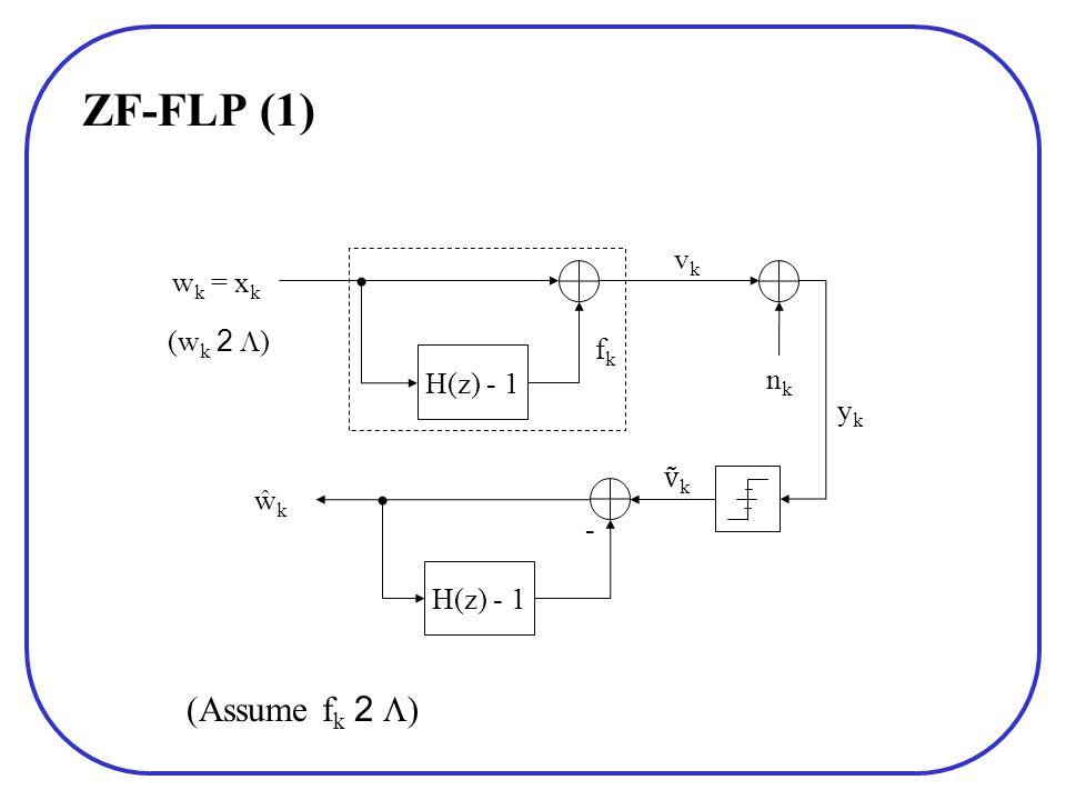 ZF-FLP (1) (Assume f k 2 ) H(z) - 1 w k = x k ykyk nknk ŵkŵk fkfk H(z) - 1 - k vkvk (w k 2 )
