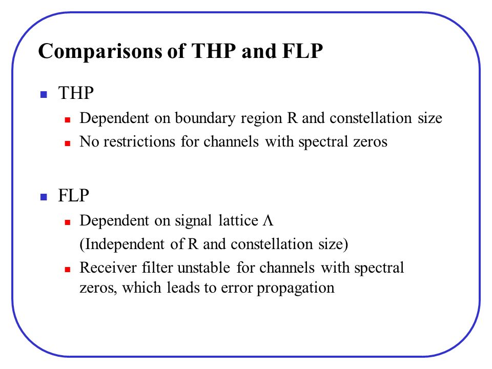 Comparisons of THP and FLP THP Dependent on boundary region R and constellation size No restrictions for channels with spectral zeros FLP Dependent on signal lattice (Independent of R and constellation size) Receiver filter unstable for channels with spectral zeros, which leads to error propagation