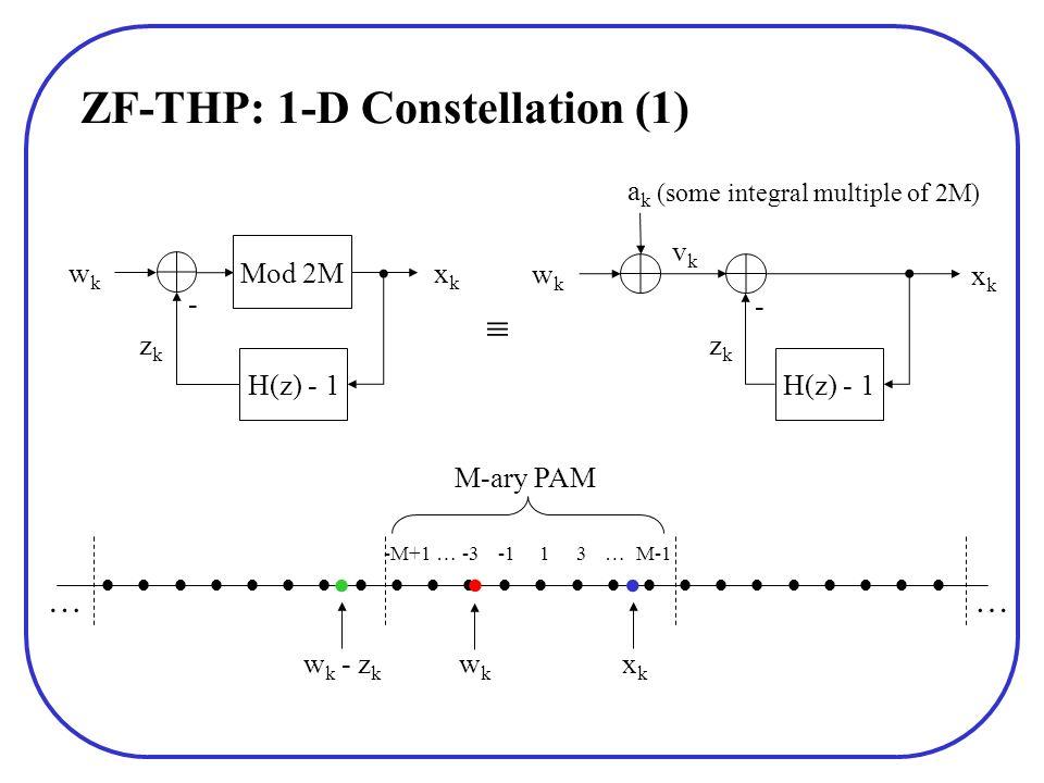 ZF-THP: 1-D Constellation (1) 13M-1-M+1 -3 M-ary PAM w k - z k wkwk xkxk H(z) - 1 Mod 2M wkwk xkxk - H(z) - 1 wkwk xkxk - vkvk akak zkzk zkzk (some in