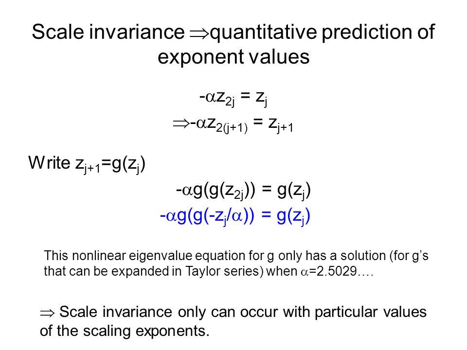 Scale invariance quantitative prediction of exponent values - z 2j = z j - z 2(j+1) = z j+1 Write z j+1 =g(z j ) - g(g(z 2j )) = g(z j ) - g(g(-z j /