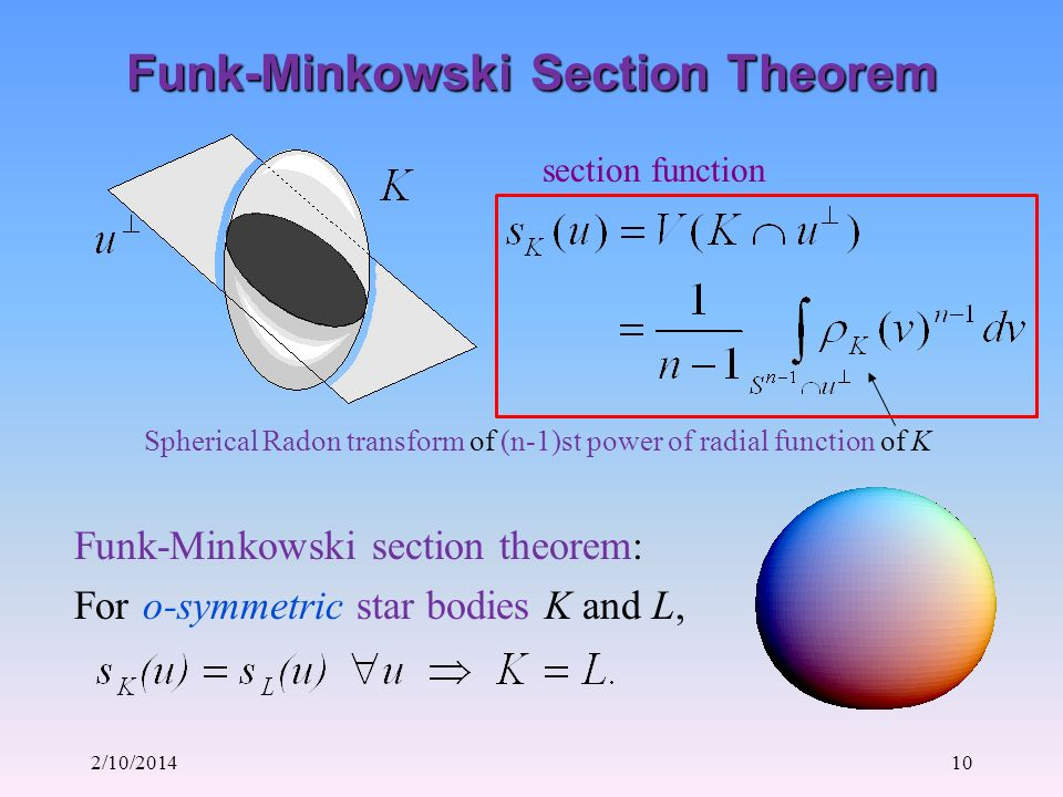 2/10/201410 Funk-Minkowski Section Theorem Funk-Minkowski section theorem: For o-symmetric star bodies K and L, section function Spherical Radon transform of (n-1)st power of radial function of K