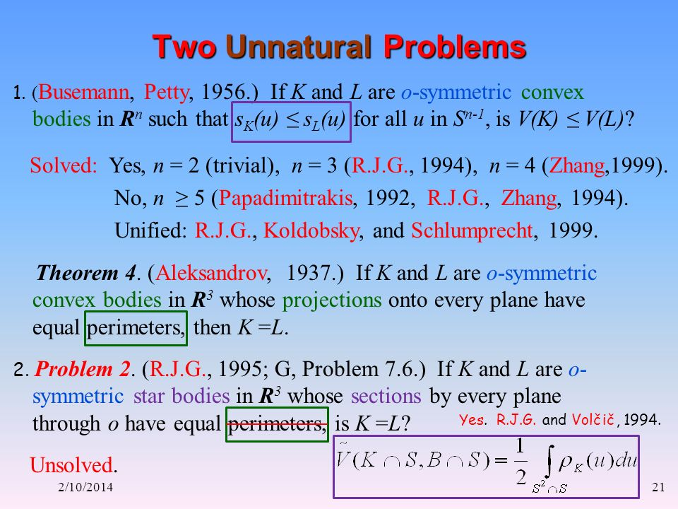 2/10/201421 Two Unnatural Problems 1.
