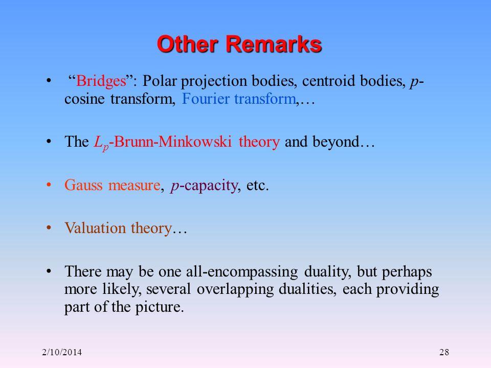 2/10/201428 Other Remarks Bridges: Polar projection bodies, centroid bodies, p- cosine transform, Fourier transform,… The L p -Brunn-Minkowski theory