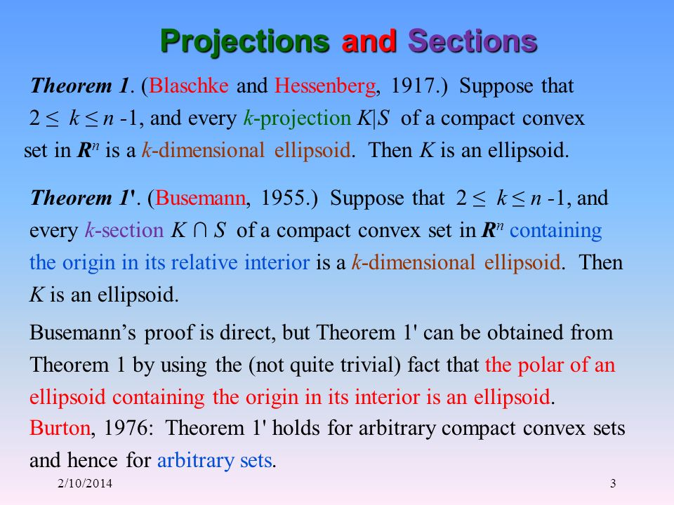 2/10/20143 Projections and Sections Theorem 1.
