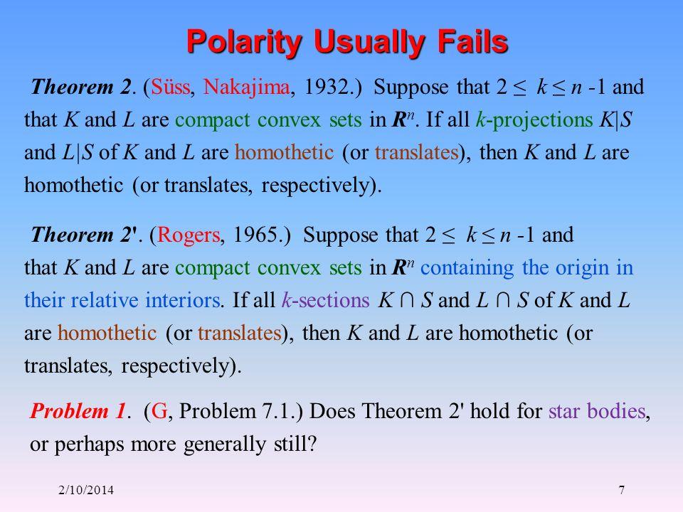 2/10/201428 Other Remarks Bridges: Polar projection bodies, centroid bodies, p- cosine transform, Fourier transform,… The L p -Brunn-Minkowski theory and beyond… Gauss measure, p-capacity, etc.