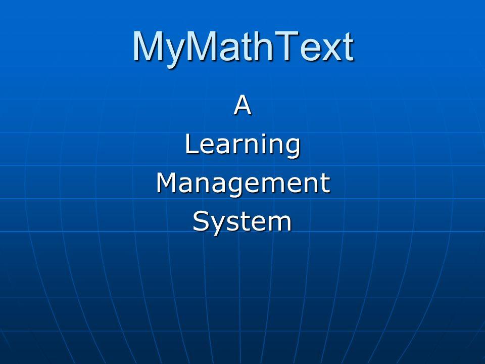 MyMathText ALearningManagementSystem