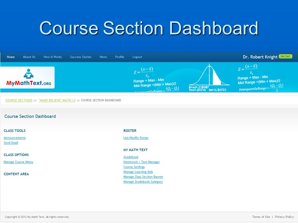 Course Section Dashboard