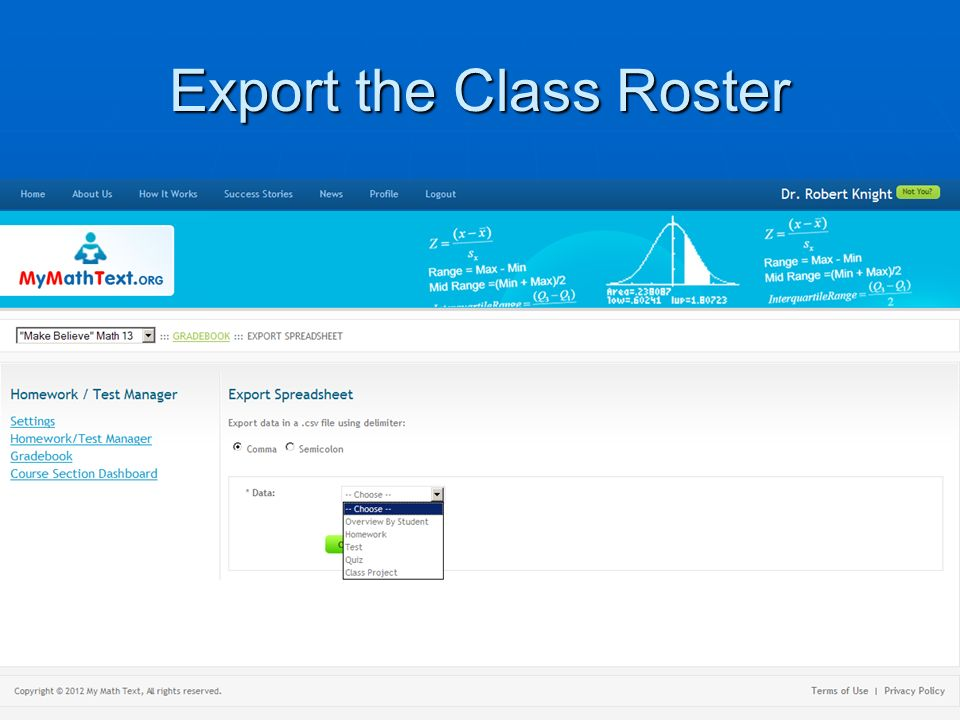 Export the Class Roster