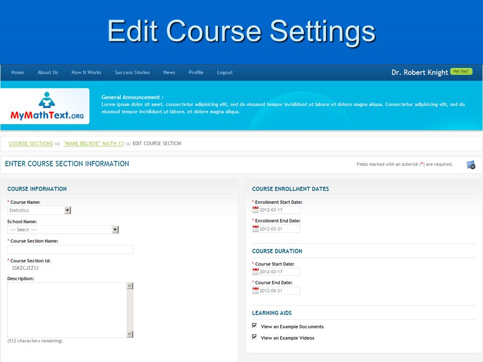 Edit Course Settings