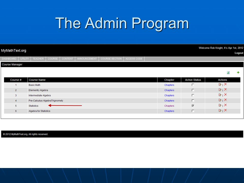 The Admin Program