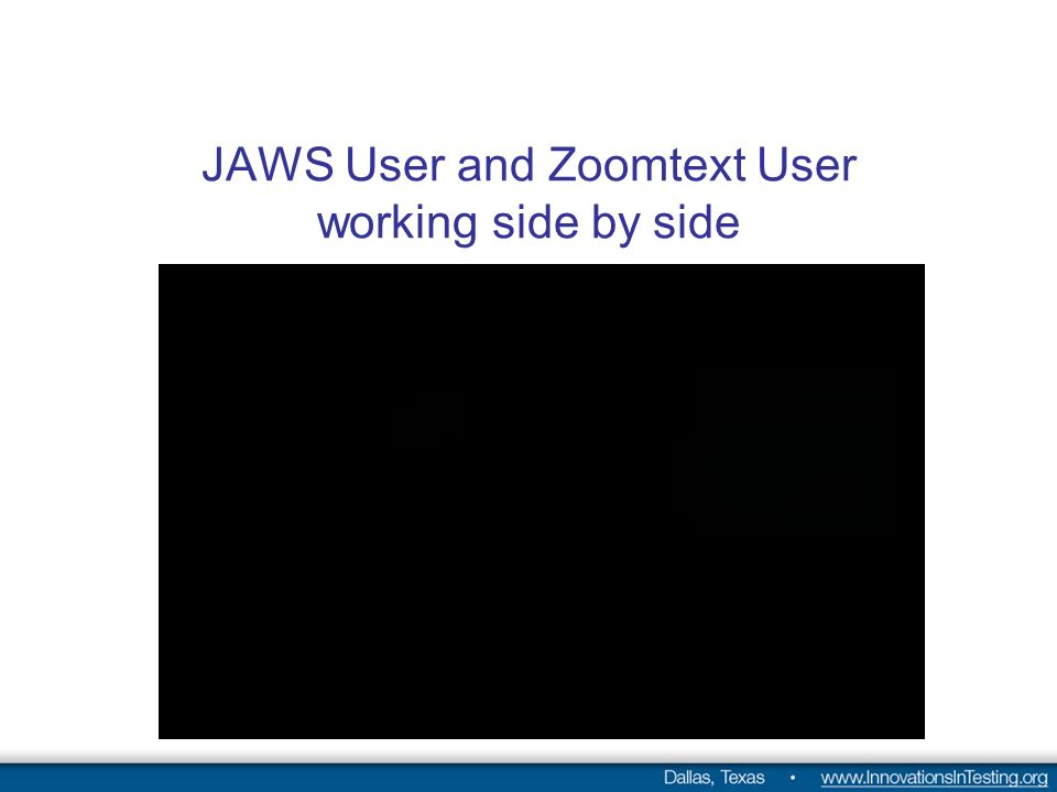 JAWS User and Zoomtext User working side by side