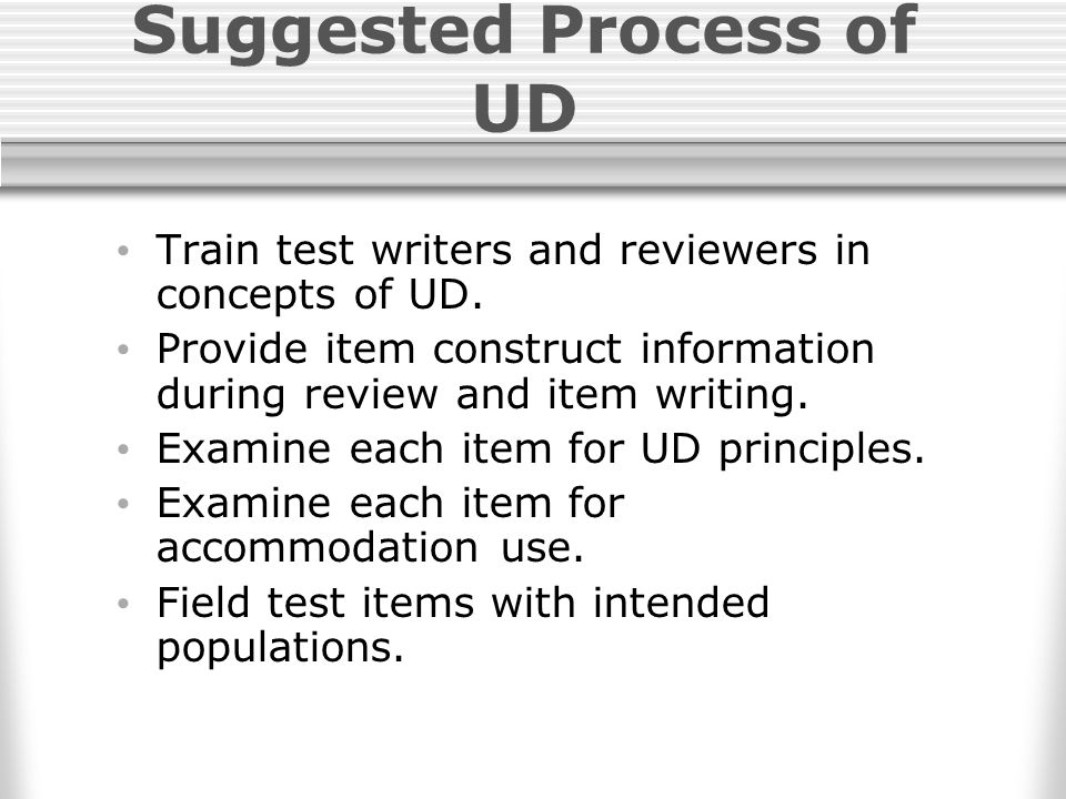 Suggested Process of UD Train test writers and reviewers in concepts of UD.