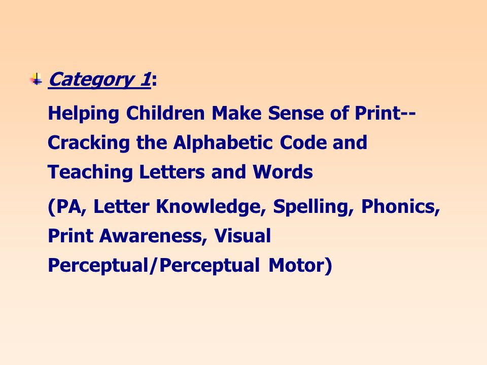 Category 1: Helping Children Make Sense of Print-- Cracking the Alphabetic Code and Teaching Letters and Words (PA, Letter Knowledge, Spelling, Phonics, Print Awareness, Visual Perceptual/Perceptual Motor)