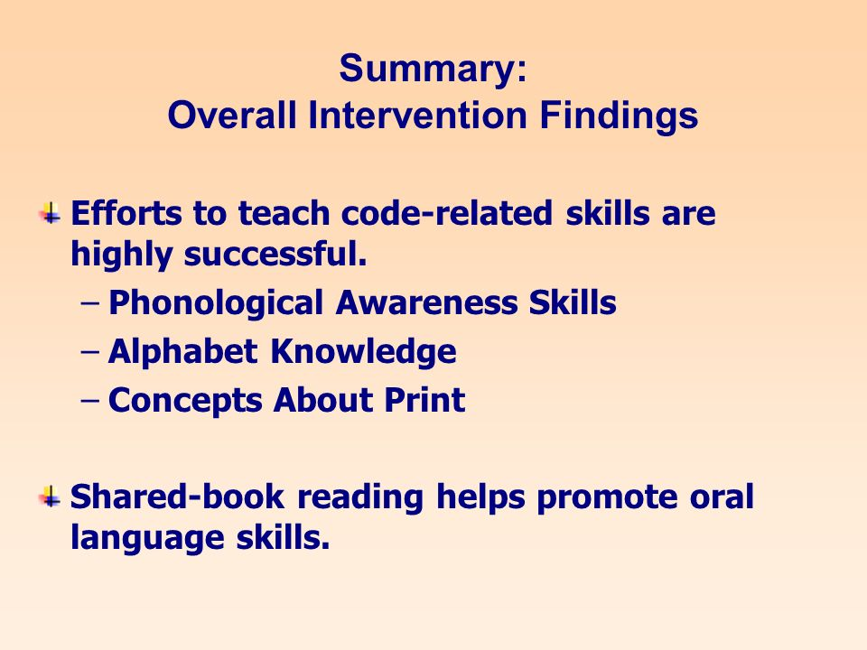Summary: Overall Intervention Findings Efforts to teach code-related skills are highly successful.