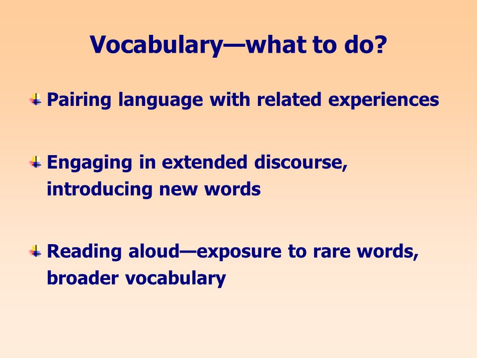 Vocabularywhat to do.