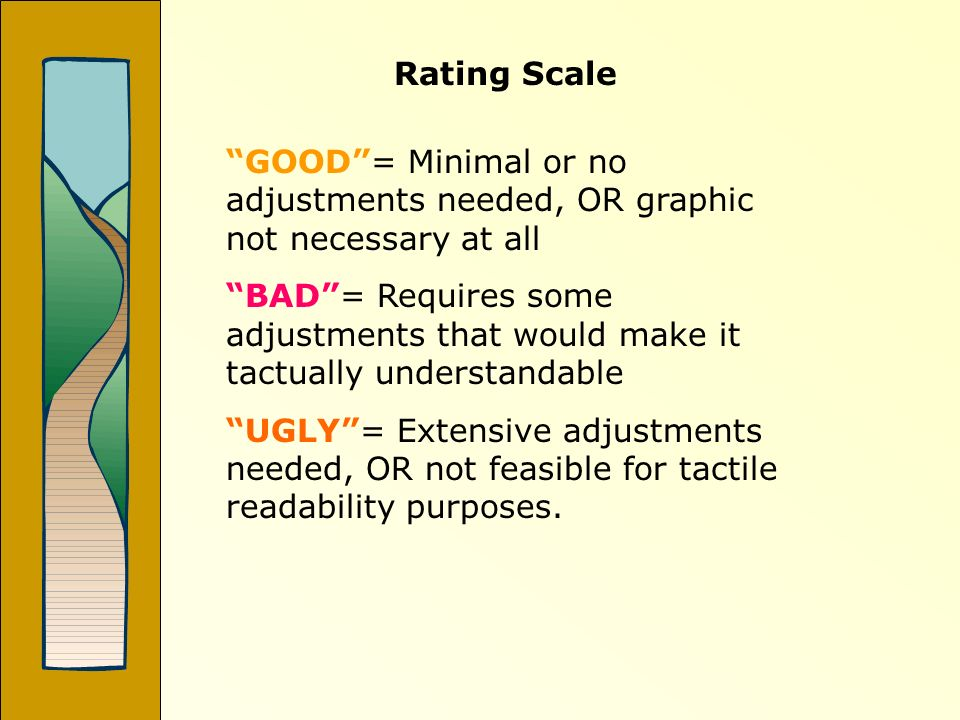Rating Scale GOOD= Minimal or no adjustments needed, OR graphic not necessary at all BAD= Requires some adjustments that would make it tactually under