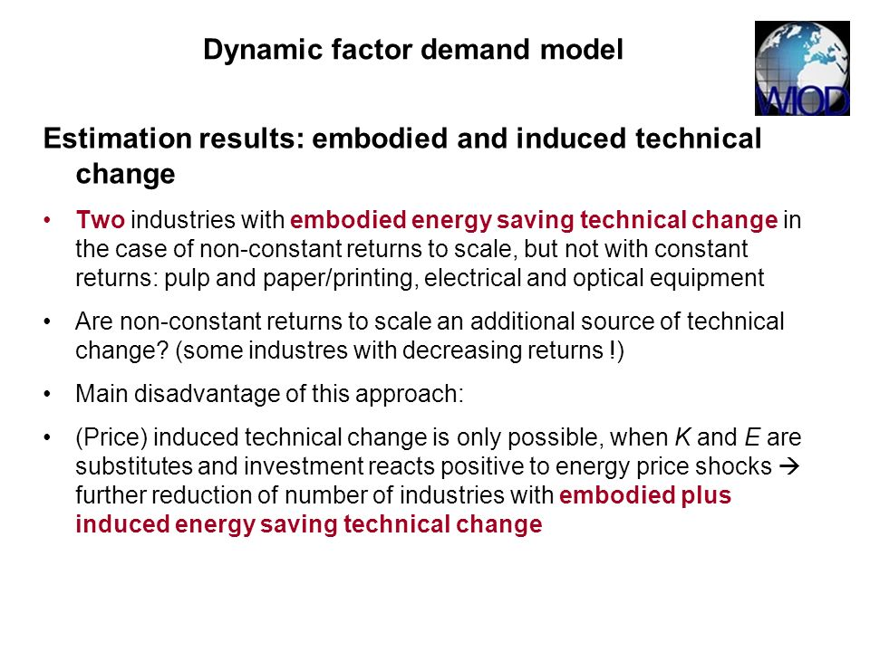 Estimation results: embodied and induced technical change Two industries with embodied energy saving technical change in the case of non-constant retu