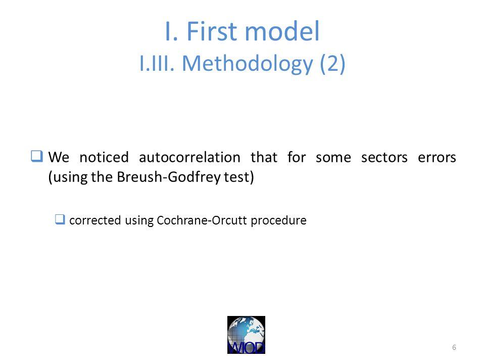 I. First model I.III. Methodology (2) We noticed autocorrelation that for some sectors errors (using the Breush-Godfrey test) corrected using Cochrane