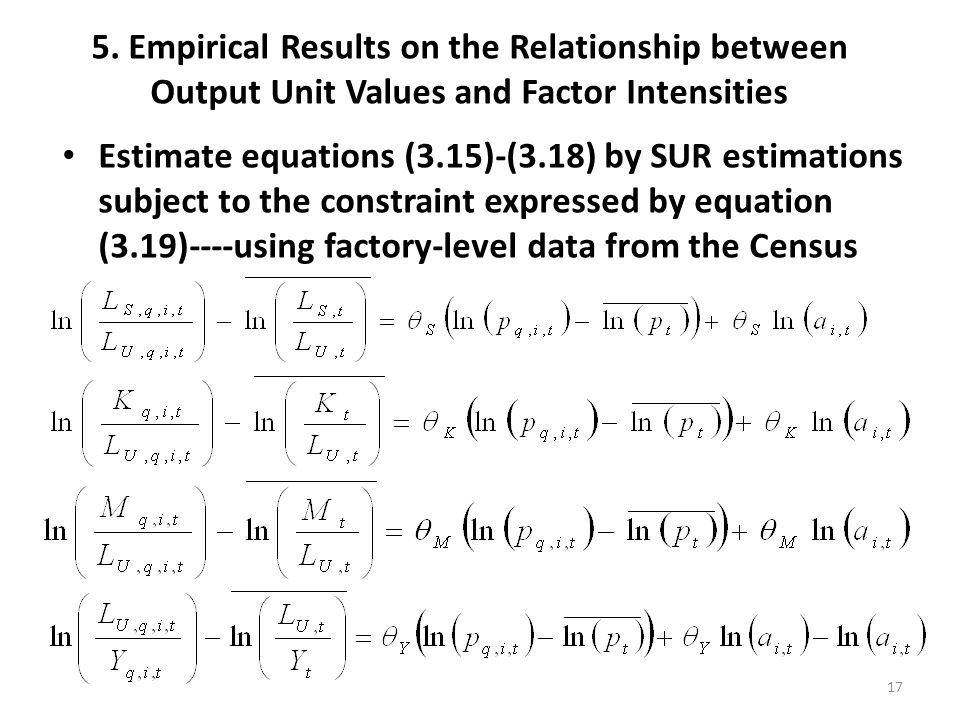 5. Empirical Results on the Relationship between Output Unit Values and Factor Intensities Estimate equations (3.15)-(3.18) by SUR estimations subject