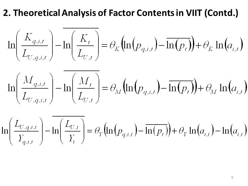 2. Theoretical Analysis of Factor Contents in VIIT (Contd.) 9