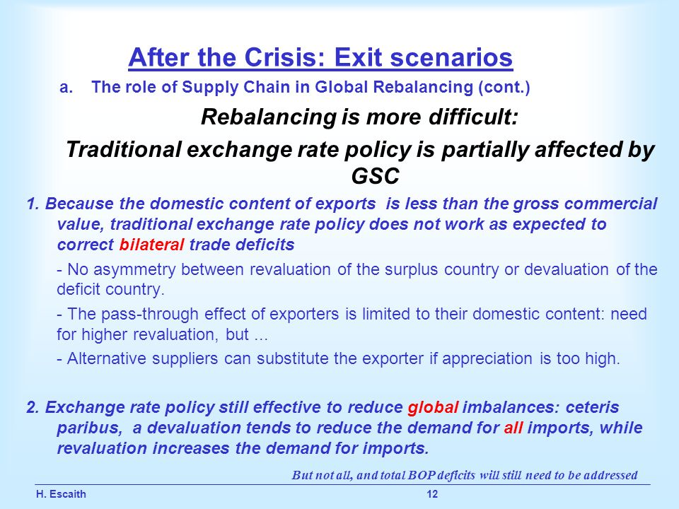 H. Escaith 12 After the Crisis: Exit scenarios a.The role of Supply Chain in Global Rebalancing (cont.) Rebalancing is more difficult: Traditional exc