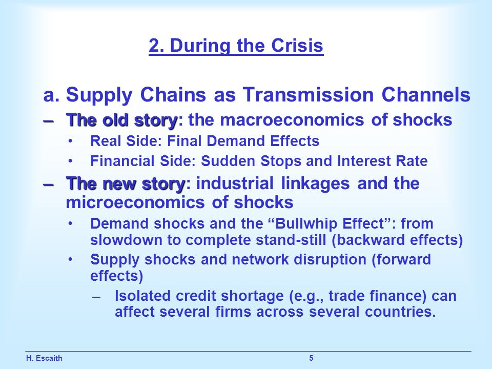 H. Escaith 5 2. During the Crisis a.Supply Chains as Transmission Channels –The old story –The old story: the macroeconomics of shocks Real Side: Fina