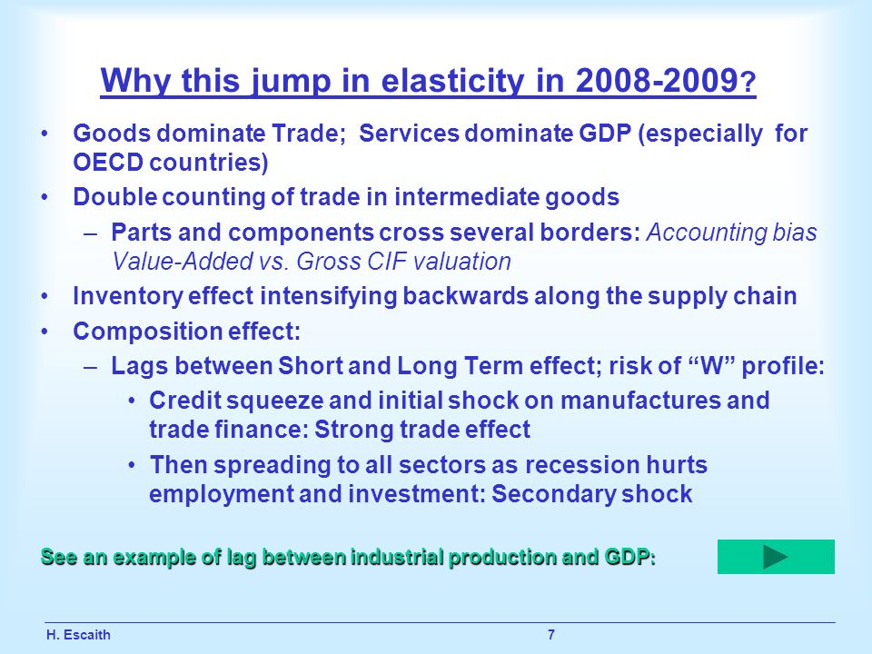H. Escaith 7 Why this jump in elasticity in 2008-2009 ? Goods dominate Trade; Services dominate GDP (especially for OECD countries) Double counting of