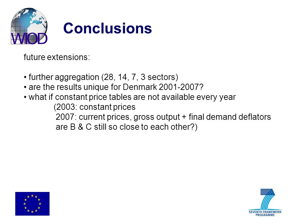 Conclusions future extensions: further aggregation (28, 14, 7, 3 sectors) are the results unique for Denmark 2001-2007? what if constant price tables