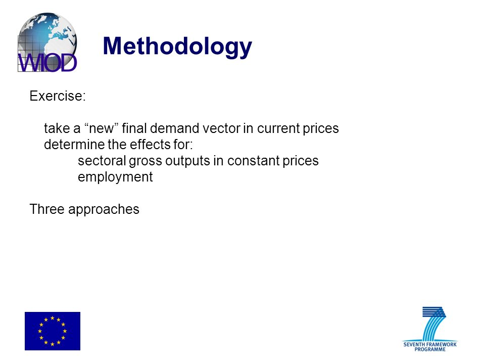 Methodology Exercise: take a new final demand vector in current prices determine the effects for: sectoral gross outputs in constant prices employment