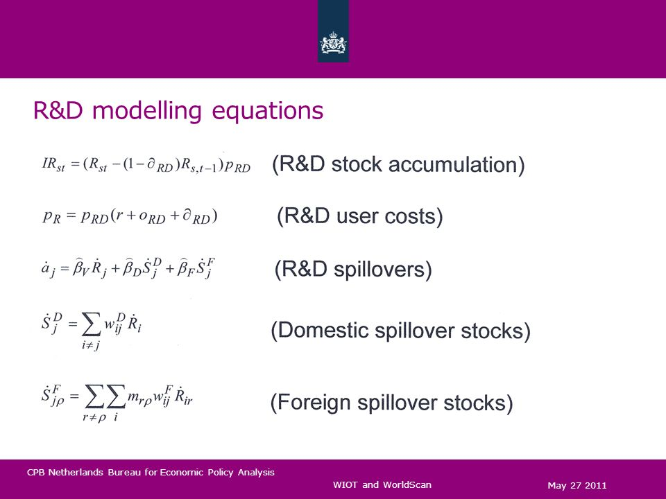CPB Netherlands Bureau for Economic Policy Analysis R&D modelling equations May 27 2011 WIOT and WorldScan