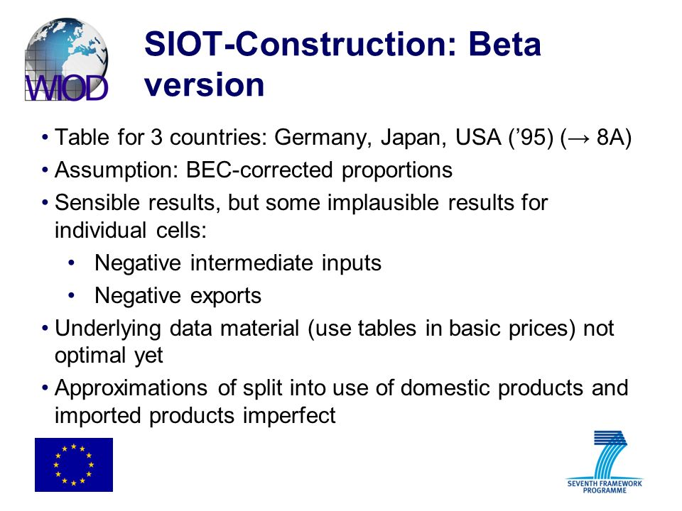 SIOT-Construction: Beta version Table for 3 countries: Germany, Japan, USA (95) ( 8A) Assumption: BEC-corrected proportions Sensible results, but some implausible results for individual cells: Negative intermediate inputs Negative exports Underlying data material (use tables in basic prices) not optimal yet Approximations of split into use of domestic products and imported products imperfect