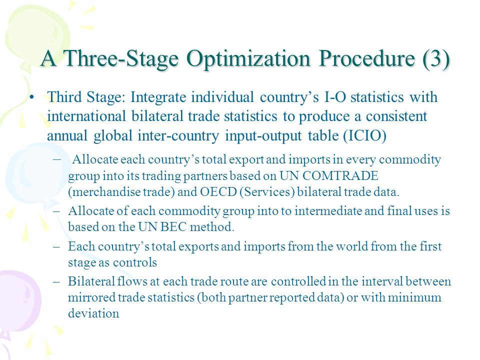 A Three-Stage Optimization Procedure (3) A Three-Stage Optimization Procedure (3) Third Stage: Integrate individual countrys I-O statistics with international bilateral trade statistics to produce a consistent annual global inter-country input-output table (ICIO) – Allocate each countrys total export and imports in every commodity group into its trading partners based on UN COMTRADE (merchandise trade) and OECD (Services) bilateral trade data.
