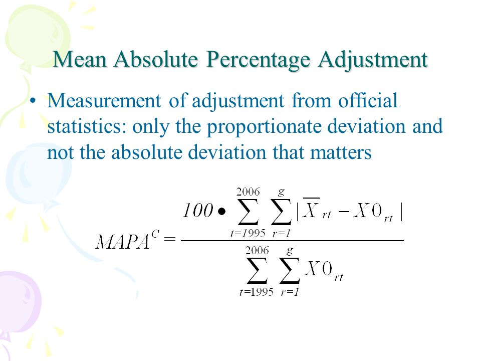 Mean Absolute Percentage Adjustment Measurement of adjustment from official statistics: only the proportionate deviation and not the absolute deviation that matters