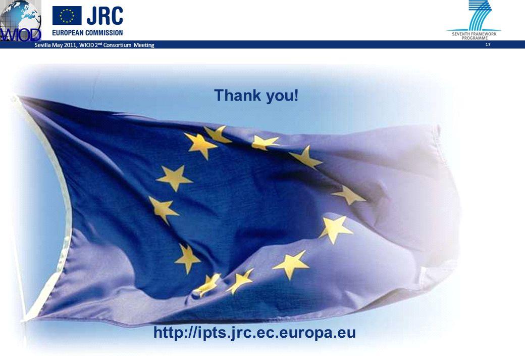Sevilla May 2011, WIOD 2 nd Consortium Meeting 17 Thank you! http://ipts.jrc.ec.europa.eu
