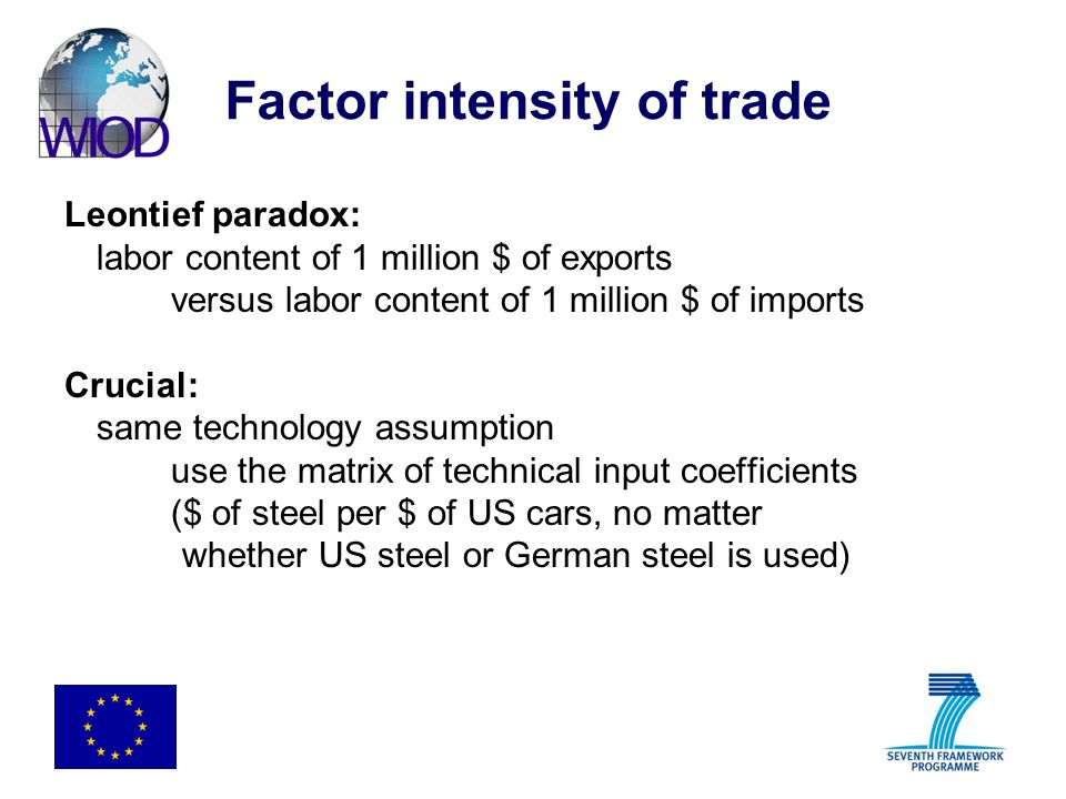 Factor intensity of trade Leontief paradox: labor content of 1 million $ of exports versus labor content of 1 million $ of imports Crucial: same techn