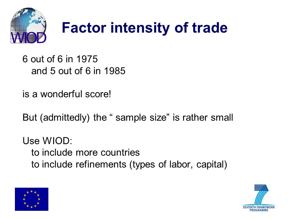 Factor intensity of trade 6 out of 6 in 1975 and 5 out of 6 in 1985 is a wonderful score.