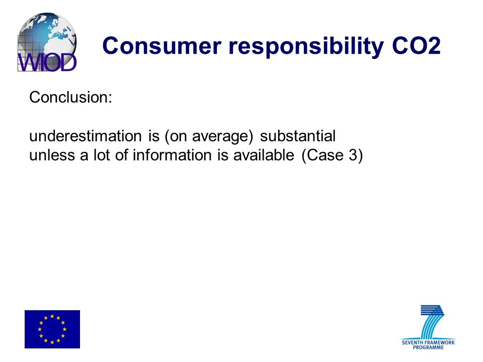 Consumer responsibility CO2 Conclusion: underestimation is (on average) substantial unless a lot of information is available (Case 3)