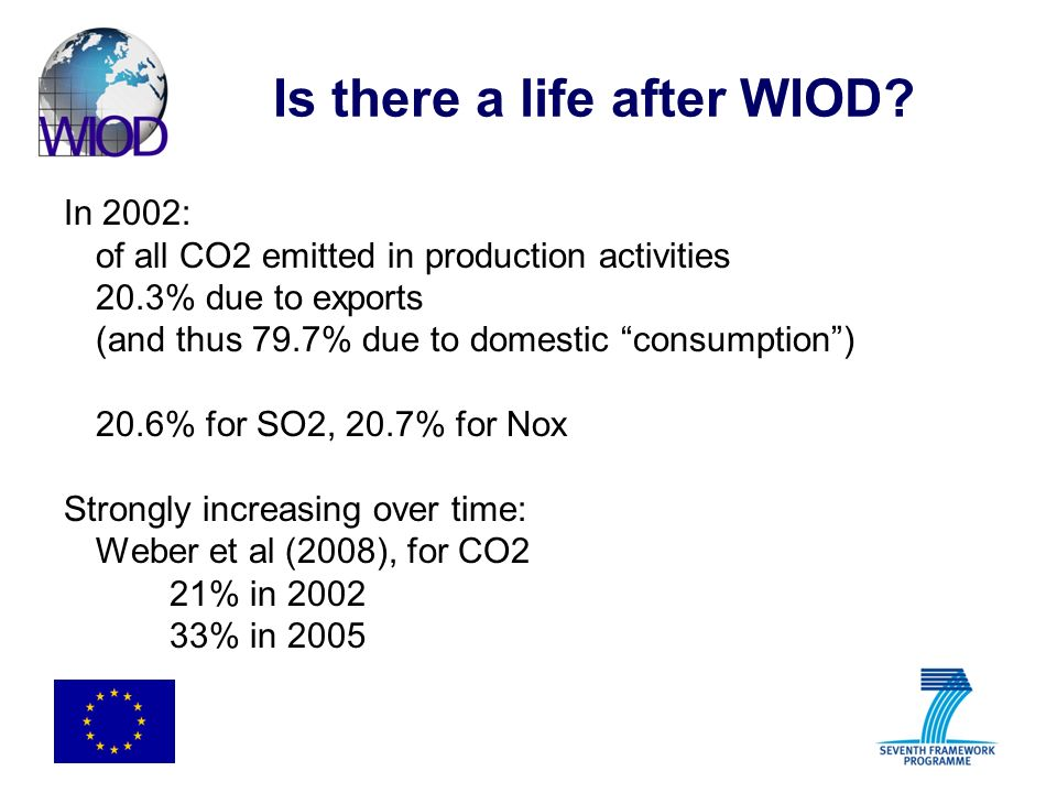 Is there a life after WIOD? In 2002: of all CO2 emitted in production activities 20.3% due to exports (and thus 79.7% due to domestic consumption) 20.