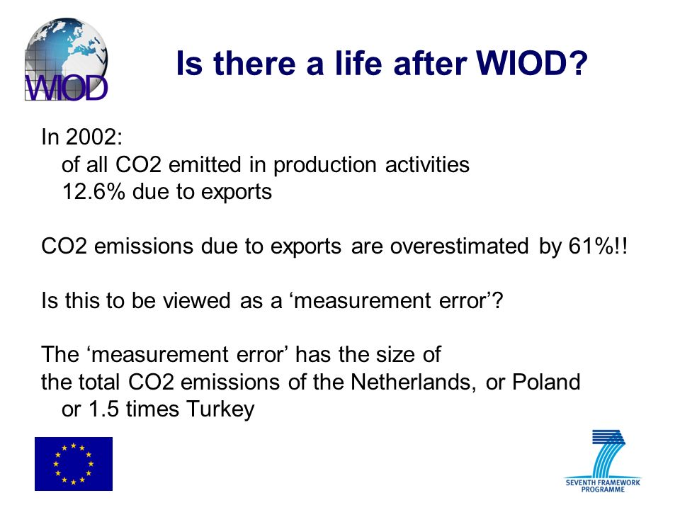 Is there a life after WIOD? In 2002: of all CO2 emitted in production activities 12.6% due to exports CO2 emissions due to exports are overestimated b