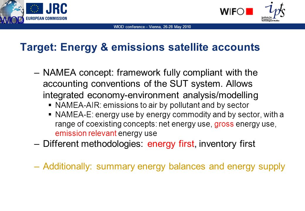 5 WIOD conference – Vienna, 26-28 May 2010 The starting blocks –Energy information is widely available in two main forms: IEA extended energy balances: ~100 flows, ~60 energy commodities.