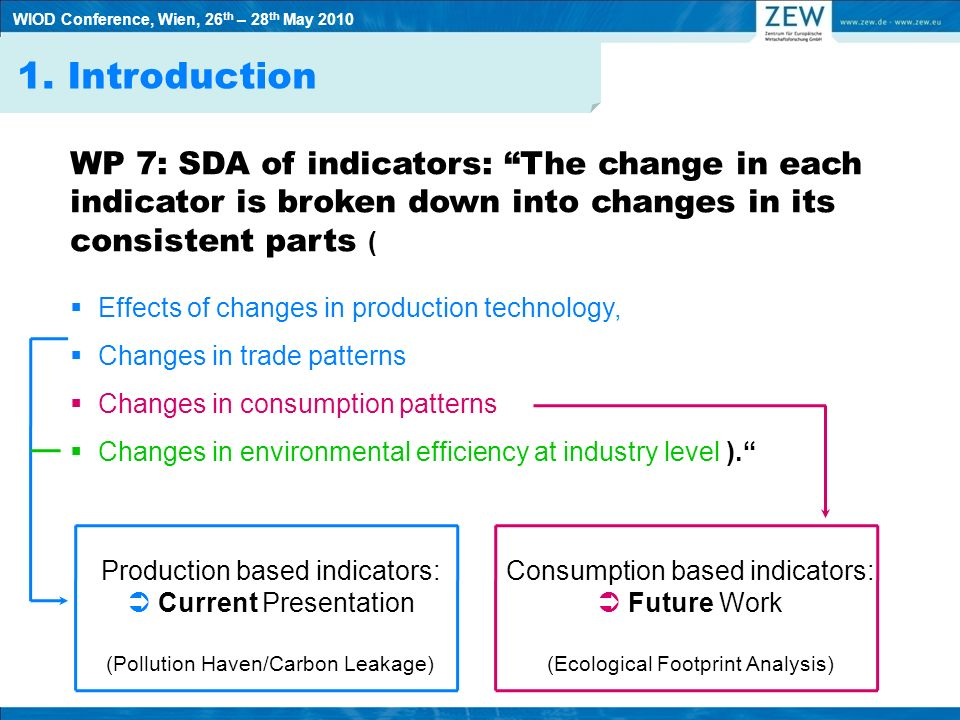 WP 7: SDA of indicators: The change in each indicator is broken down into changes in its consistent parts ( Effects of changes in production technology, Changes in trade patterns Changes in consumption patterns Changes in environmental efficiency at industry level ).