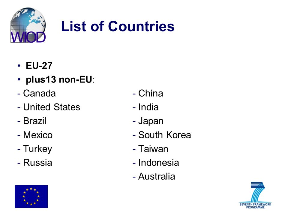 List of Countries EU-27 plus13 non-EU: - Canada- China - United States- India - Brazil- Japan - Mexico- South Korea - Turkey- Taiwan - Russia- Indones