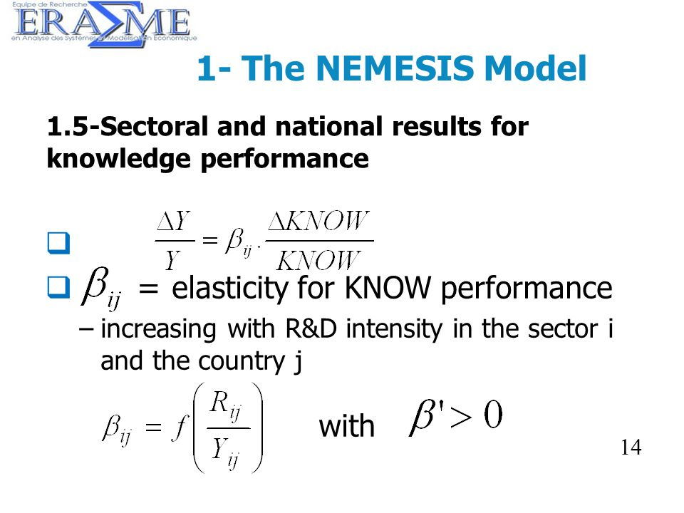14 1- The NEMESIS Model = elasticity for KNOW performance –increasing with R&D intensity in the sector i and the country j with 14 1.5-Sectoral and na